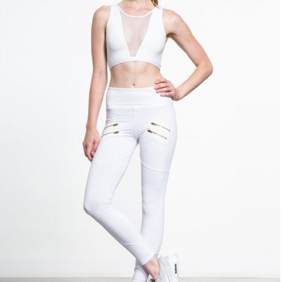 d25f85f1ea8eb0 Varley Pants | Palms White Zip Moto Legging Xs | Poshmark